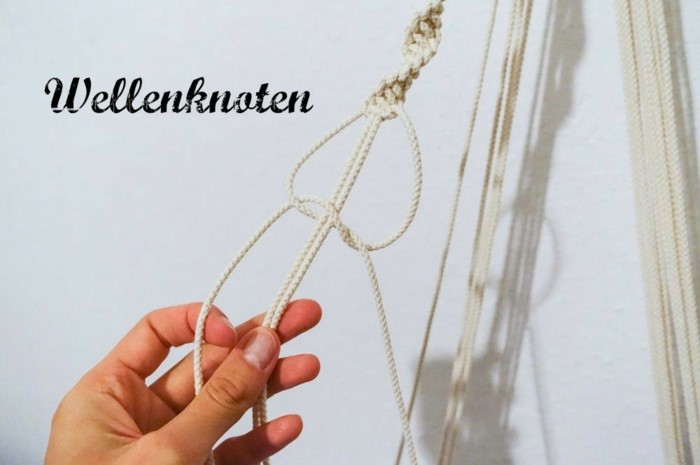 macrame plant hanger, step by step diy tutorial for a macrame knot, white background