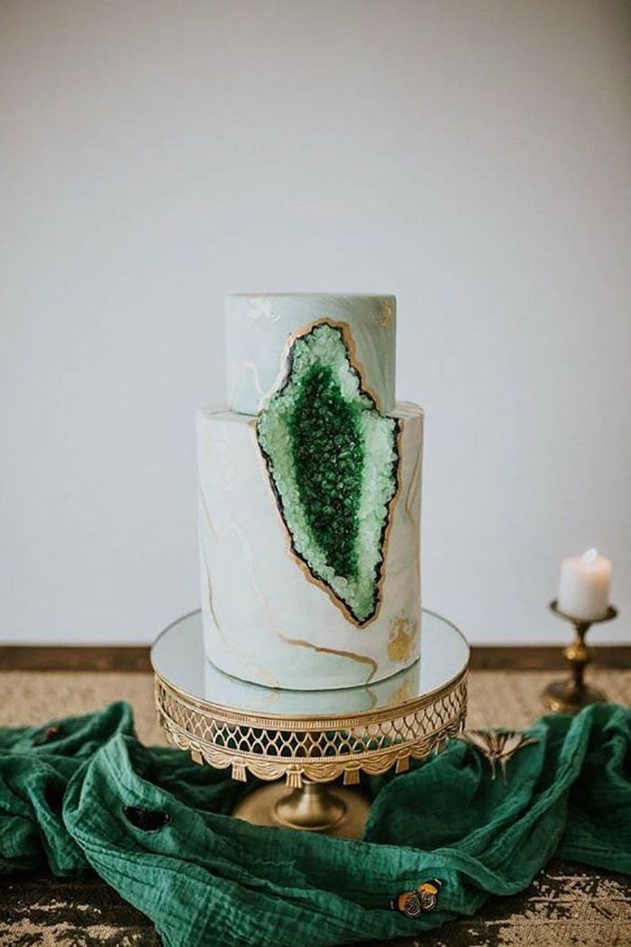 two tier cake, covered with white and green marble fondant, geode cake recipe, decorated with green rock candy