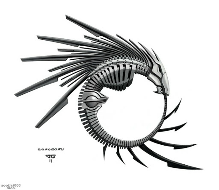 mechanic dragon skeleton with wings, black drawing on white background, ouroboros symbol