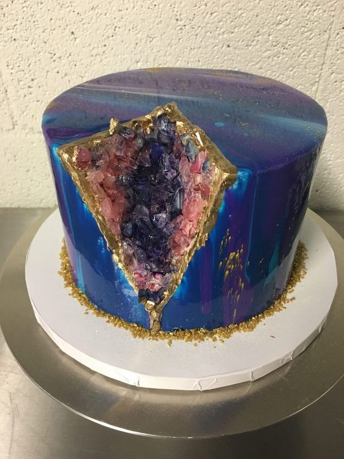 galaxy cake, mirror glaze cake, one tier cake with galaxy mirror glaze, geode cake recipe, decorated with pink and purple rock candy