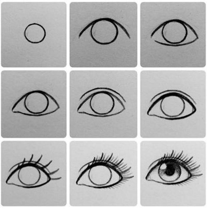 step by step diy tutorial in nine steps, eye drawing step by step, black pencil sketch on white background