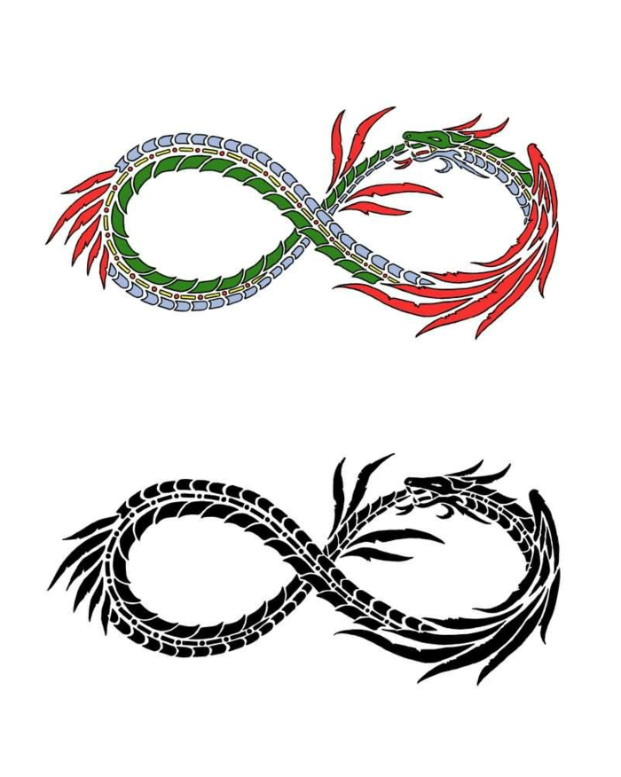 two dragons as infinity symbols, one colored in green red and blue, one in black, ouroboros dragon