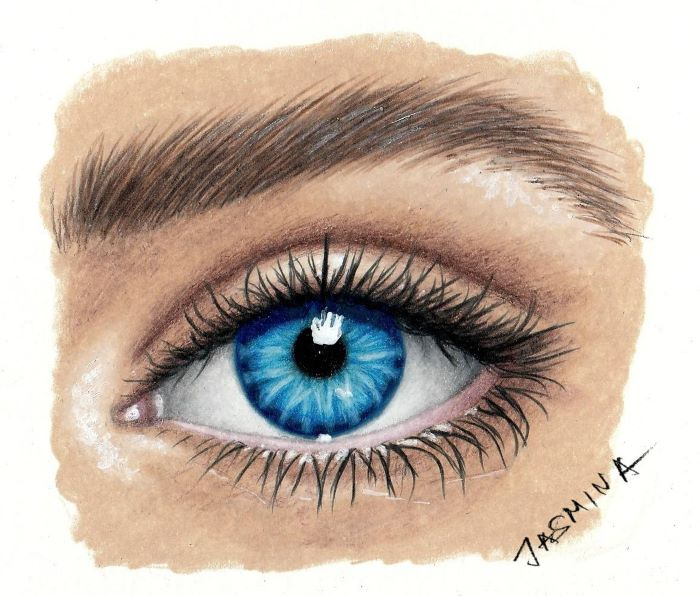 colored drawing of a female eye, how to draw closed eyes, blue eye with long eyelashes and thick eyebrow