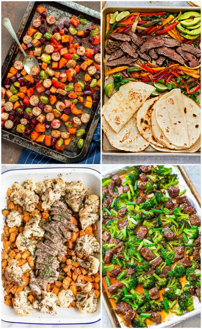 easy dinners for two, photo collage of different meals, cooked in a sheet pan, four side by side photos