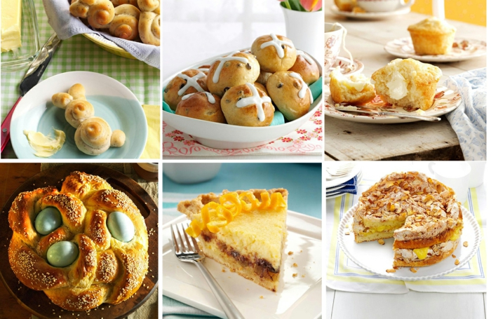 easter dinner ideas 2019, photo collage of different photos, different desserts and bread, side by side photos