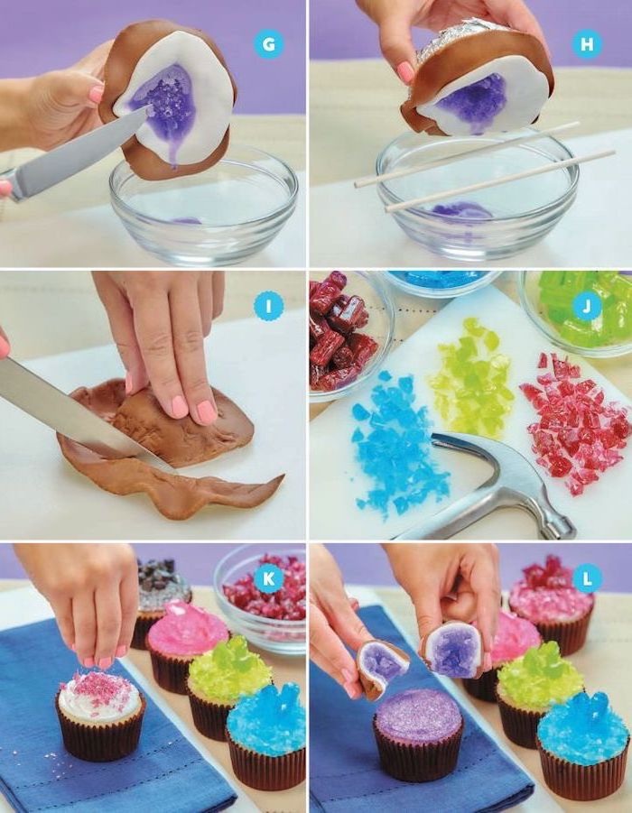 photo collage of step by step diy tutorial, how to make geode cupcakes, geode birthday cake, colorful rock candy