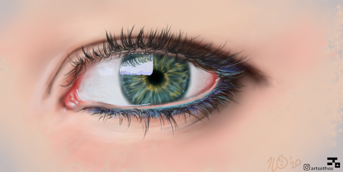 realistic drawing of a blue eye, long lashes and blue eyeliner, how to draw cute eyes, painted on white background