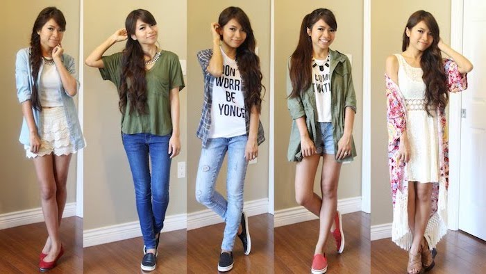 five side by side photos, cute first day of school outfits, five different outfits, worn by the same girl