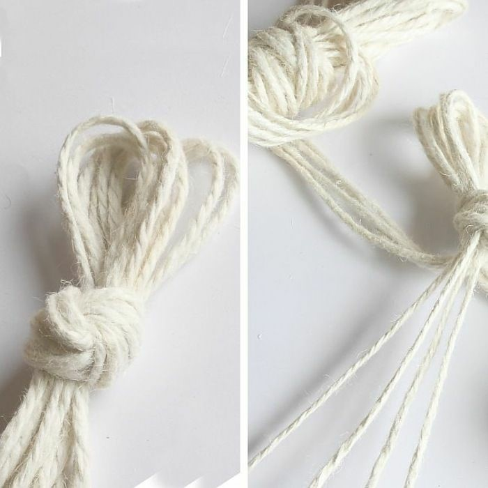 side by side photos of white macrame strands tied together, how to macrame, step by step diy tutorial
