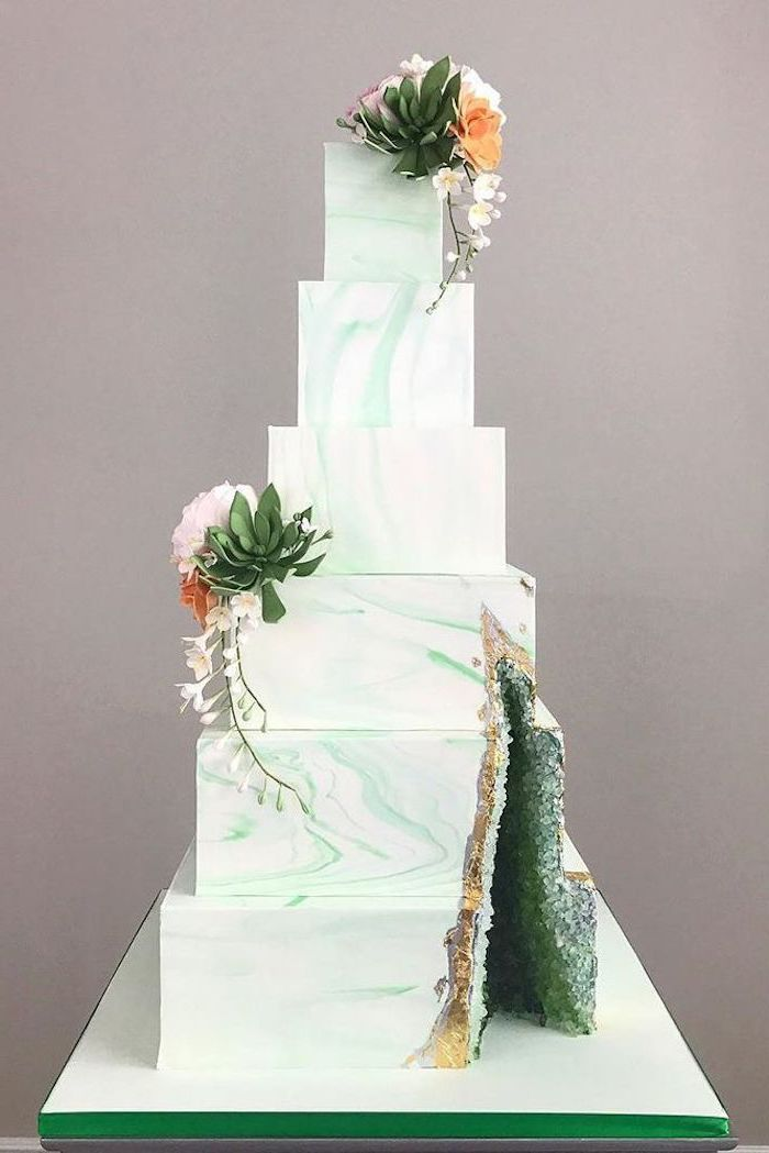 six tier square cake, covered with white and green marble fondant, geode birthday cake, decorated with green rock candy
