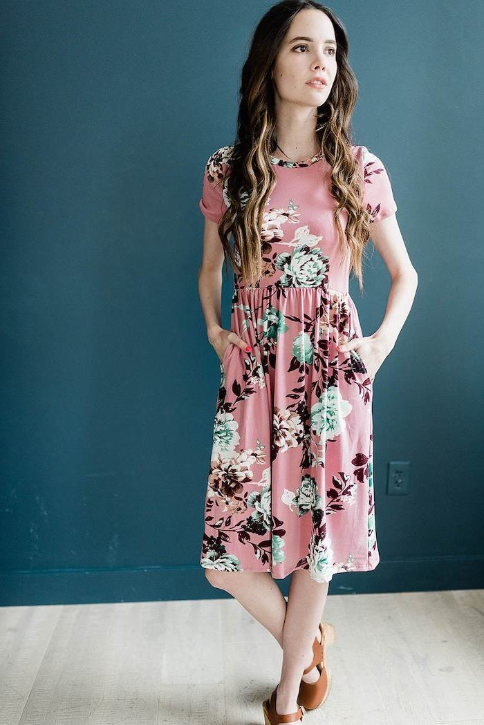 woman with long brown hair, wearing a pink dress with floral print, brown sandals, womens easter dresses 2019