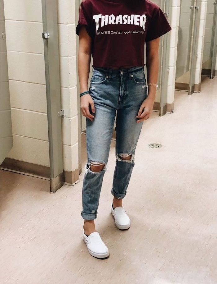 burgundy thrasher t shirt and jeans, cute high school outfits, white vans shows, girl standing in school bathroom
