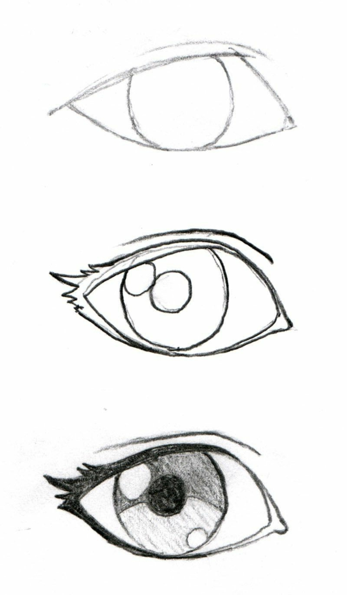 step by step diy tutorial in three steps, how to draw a crying eye, black pencil sketch on white background
