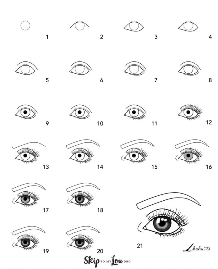 drawing an eye in twenty one steps, how to draw a crying eye, step by step diy tutorial, black sketch on white background