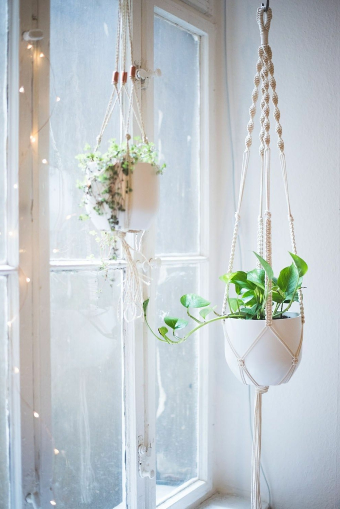 potted plants hanging from the ceiling, how to make a macrame plant hanger, fairy light around the windows