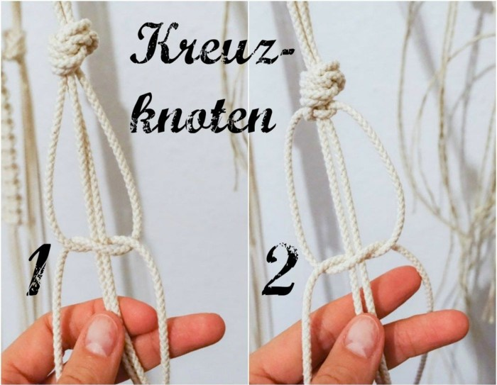 side by side photos of macrame knot, two different knots, macrame plant hanger, step by step diy tutorial