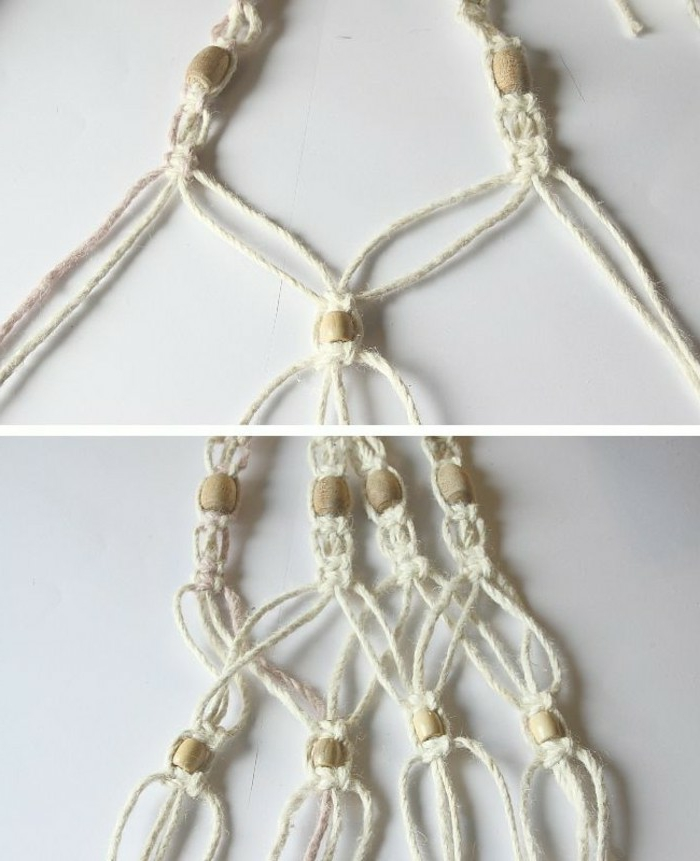 macrame plant hanger patterns, wooden beads tied intoo white macrame, placed on white surface, step by step diy tutorial