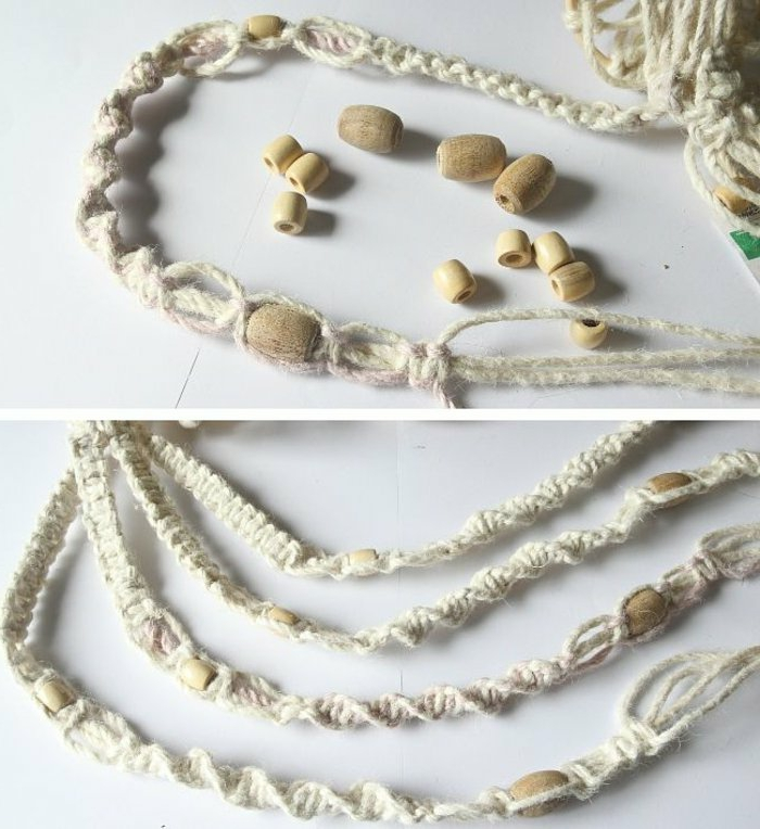 wooden beads tied into white macrame, macrame plant hanger patterns, step by step diy tutorial, placed on white surface