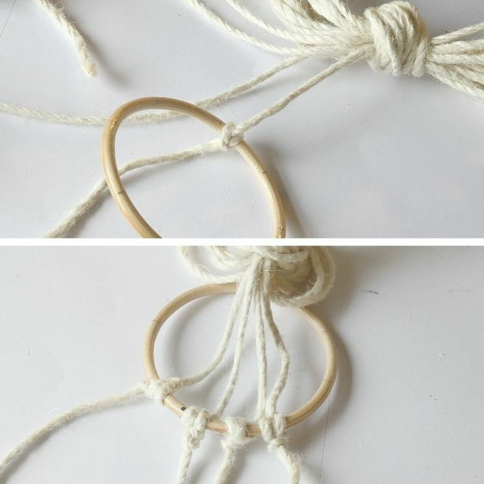 two photos of step by step diy tutorial, how to macrame, white macrame strands tied to wooden circle