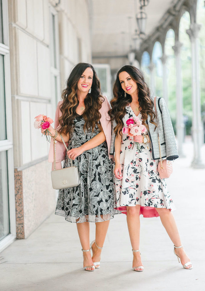 two women standing on a sidewalk, wearing different dresses and blazers, womens easter dresses 2019, holding bouquets of roses