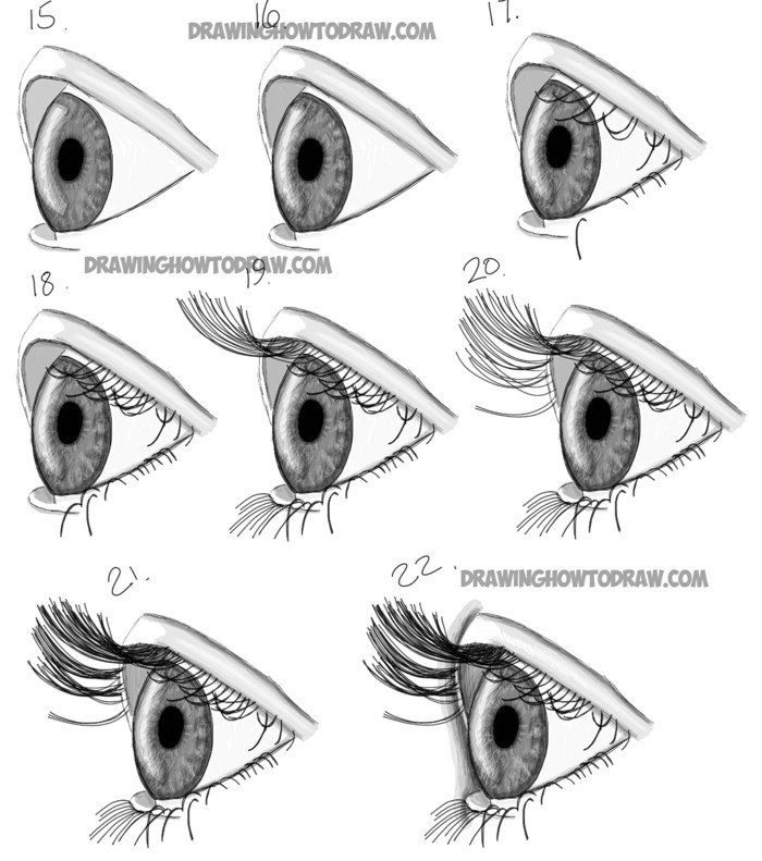 how to draw the side profile of an eye, pictures of eyes to draw, step by step diy tutorial