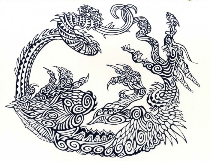 black drawing on white background, dragon with wings, snake eating itself tattoo