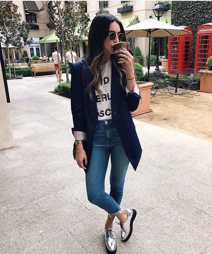 girl wearing jeans, white t shirt and navy blue blazer, cute lazy outfits, drinking coffee, silver shoes