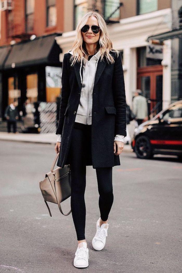 blonde woman wearing black leggings, grey sweatshirt and black coat, white sneakers, cute lazy outfits