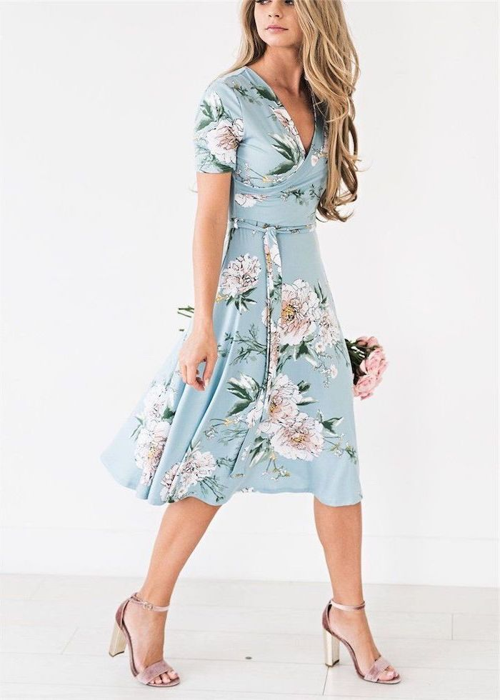 woman with long blonde hair, wearing a blue wrap dress with floral print, cute easter outfits, nude heels
