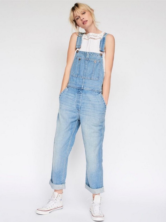 high school cute outfits, blonde woman wearing denim overalls, white top, white high top converse shoes