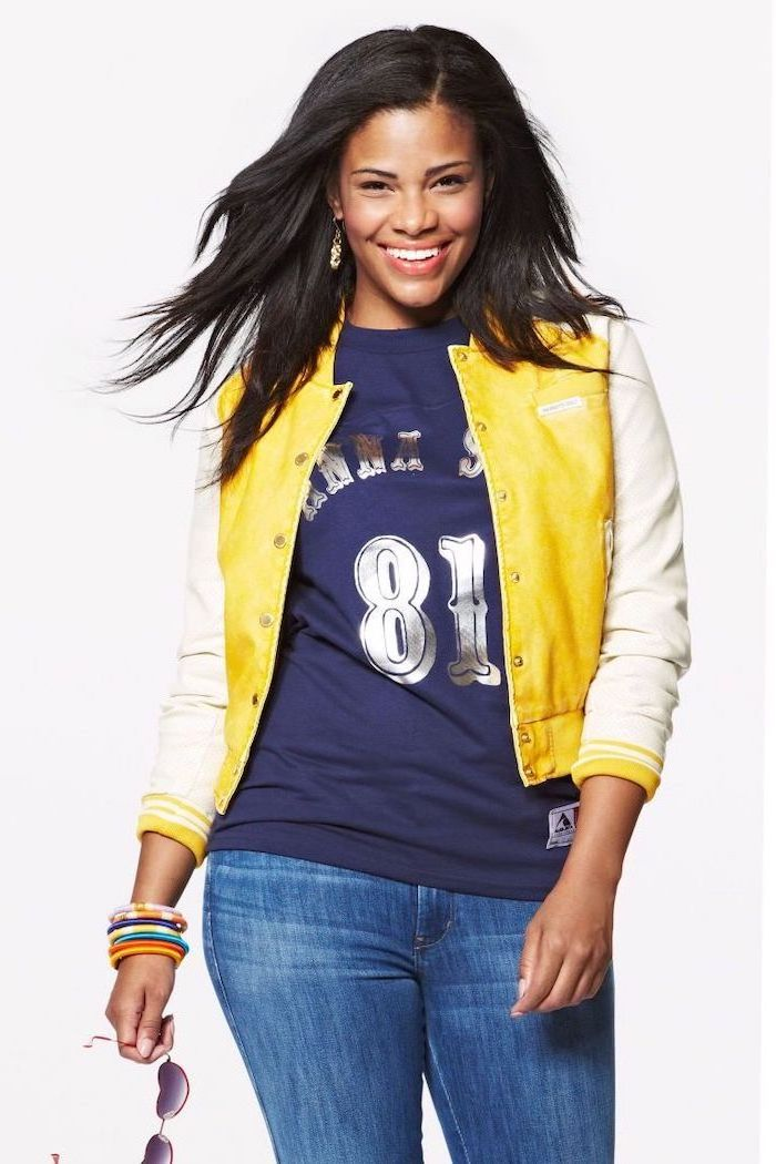 girl with black hair, wearing blue t shirt and jeans, yellow bomber jacket, high school cute outfits, white background