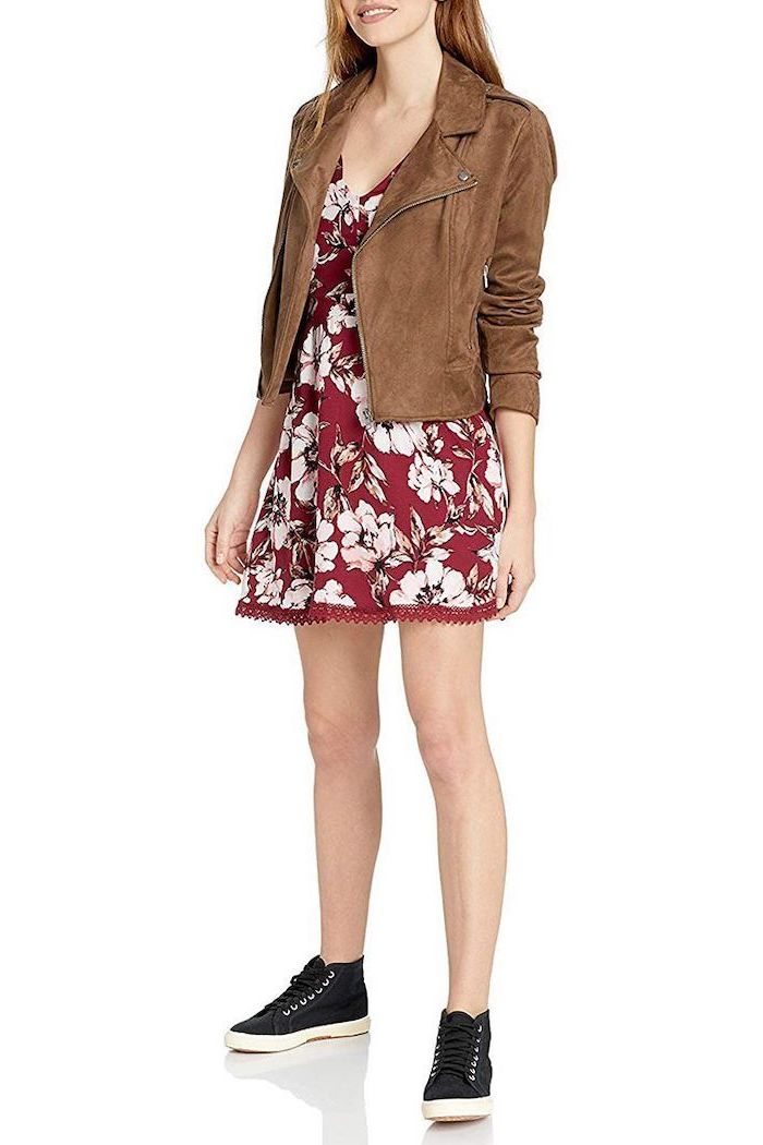 cute outfits to wear to school, woman wearing red floral dress, black sneakers, brown velvet jacket