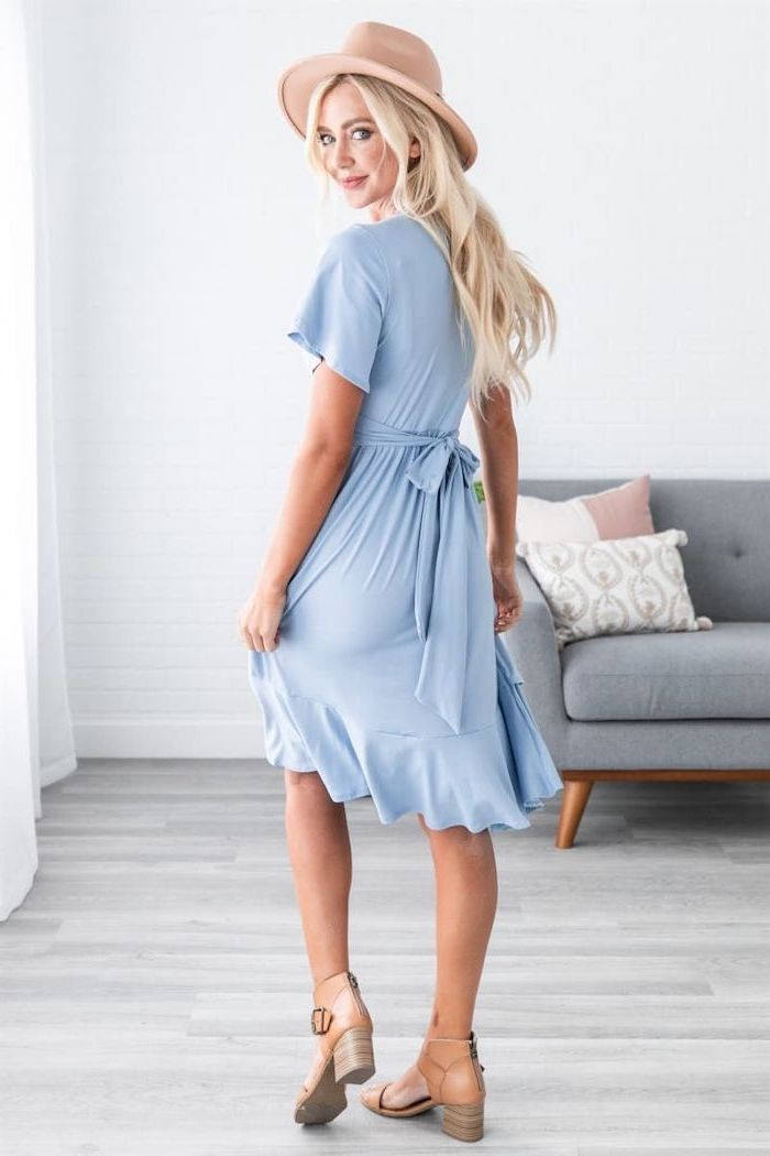 sunflower dress womens, blonde woman with a hat on her head, wearing blue dress with nude leather boots