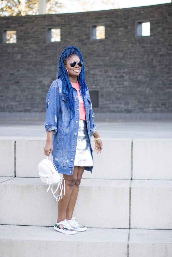 woman with blue hair, wearing silver skirt and pink t shirt, long denim jacket, cute outfits to wear to school, white backpack