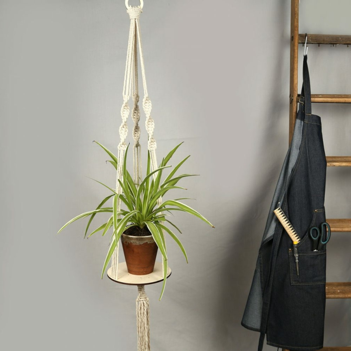 ceramic pot with plant inside hanging from the ceiling, easy macrame plant hanger, wooden ladder on the side