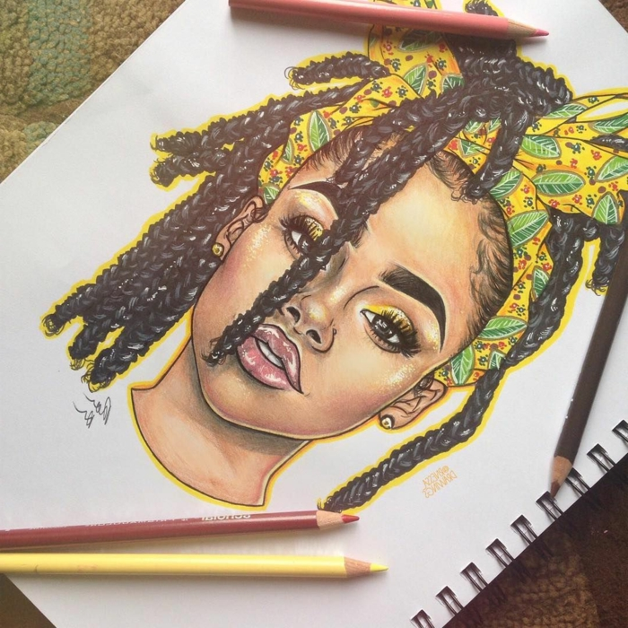 what to draw when bored, colored drawing of a woman, black braided hair, yellow head scarf wrapped around her head