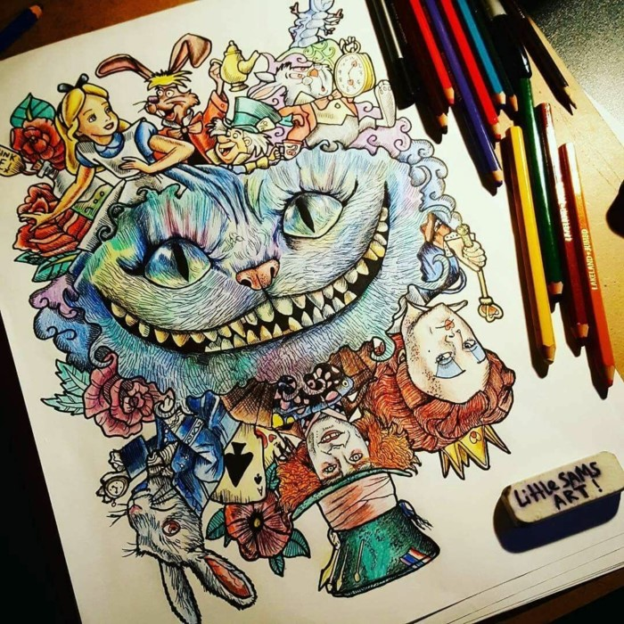 alice in wonderland characters, cool easy drawings, colored drawing, cheshire cat surrounded by other characters