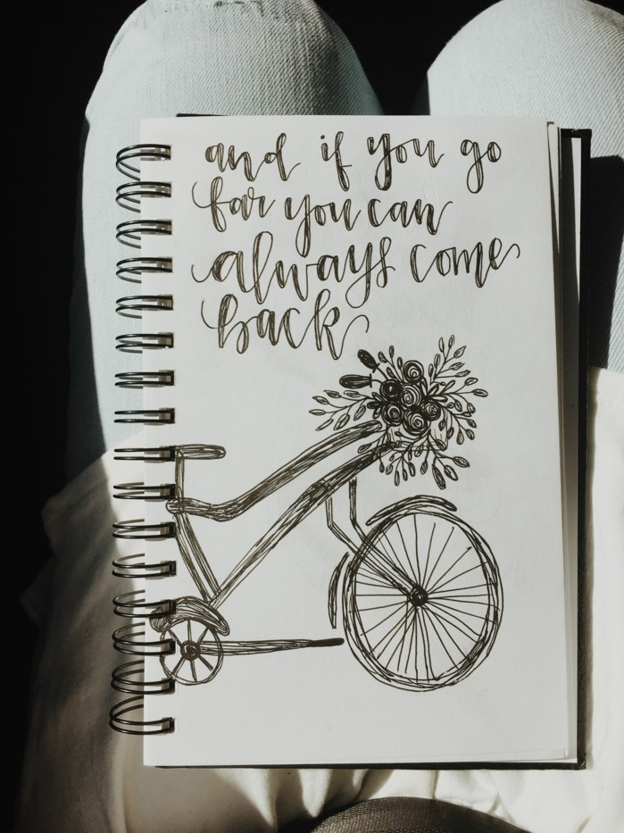 and if you go far you can always come back, written over a drawing of a bike, cool drawing ideas