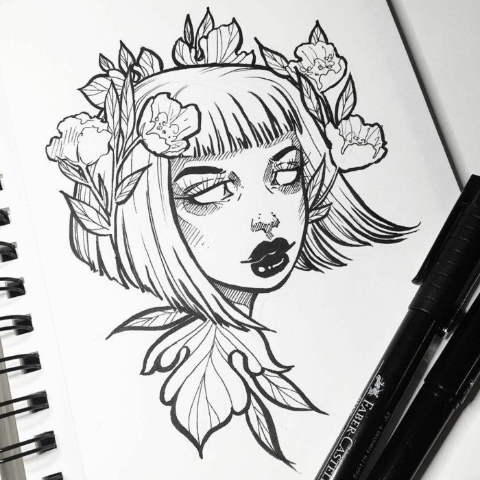 black pencil drawing on white background, cool drawing ideas, girl with short hair and flowers on her head