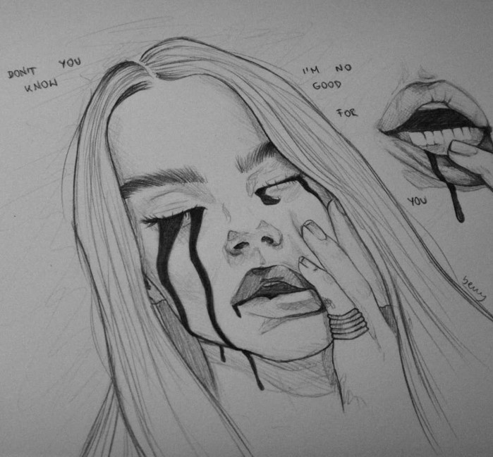 cool drawing ideas, don't you know i'm no good for you, when the party's over, billie eilish song inspired drawing