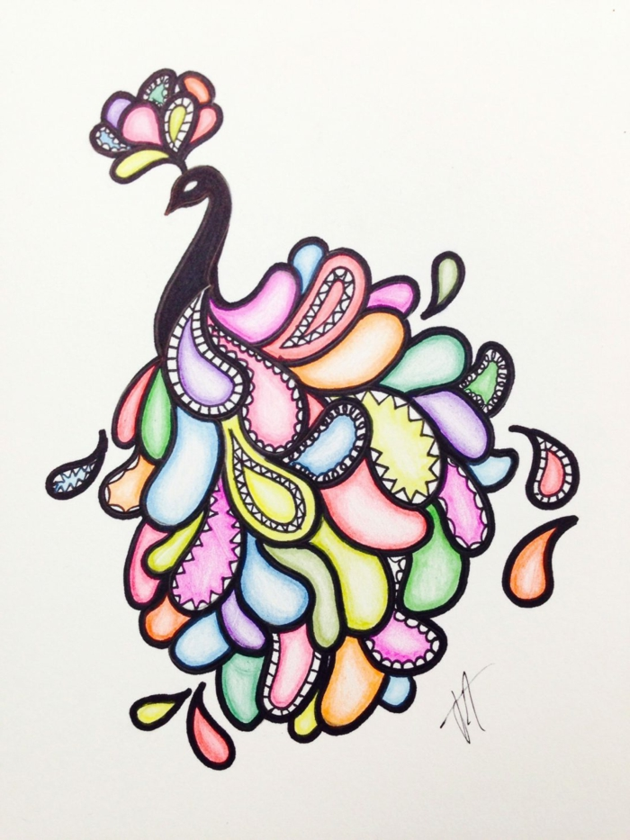 drawing of a bird with colorful feathers, cool drawing ideas, white background