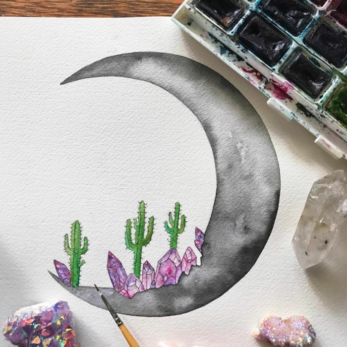 watercolor drawing on white background, black crescent moon, purple crystals and cactuses, what to draw when bored