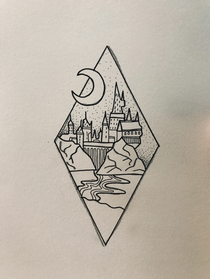 black pencil drawing on white background, cute easy drawings, hogwarts castle under the crescent moon
