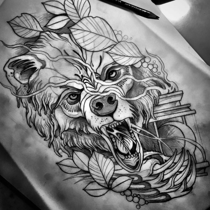 neo traditional rose, black pencil sketch of a growling bear, surrounded by leaves, white background
