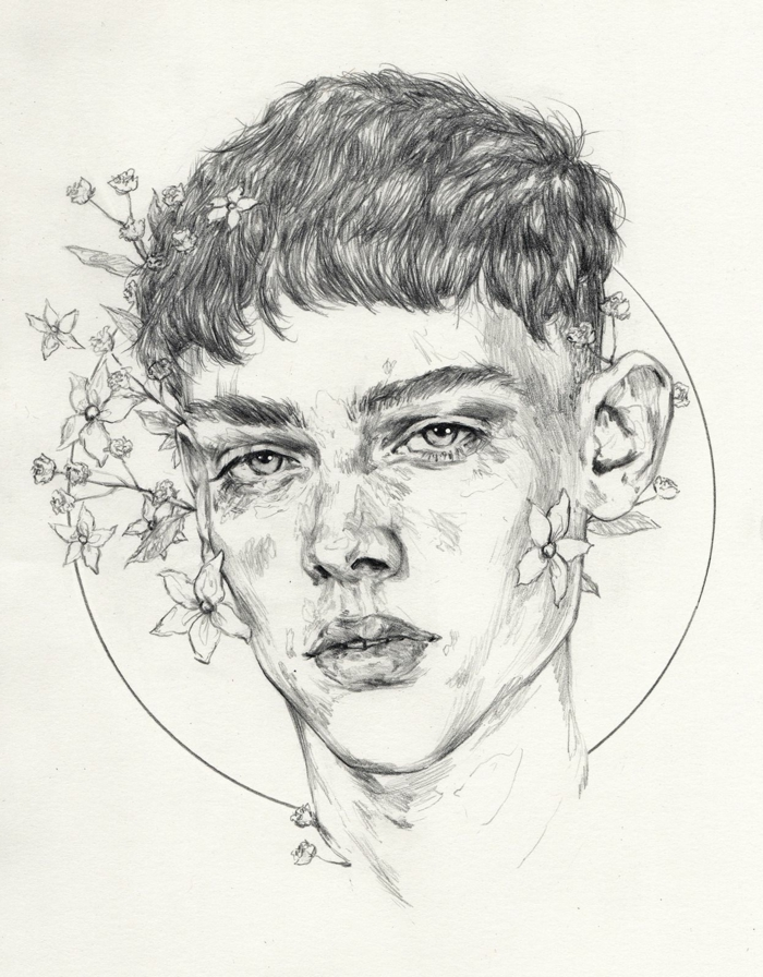 drawing of a boy, surrounded by flowers, cute easy drawings, black pencil drawing on white background