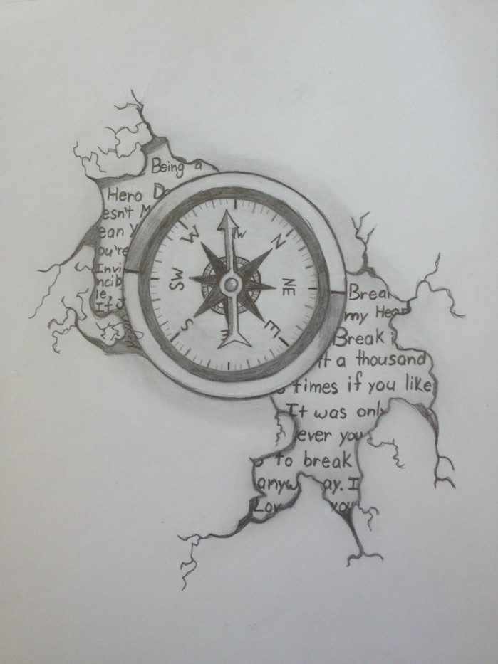 drawing of a compass, words written around it, things to draw when bored, black pencil drawing on white background