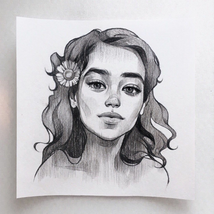 girl with short wavy hair, flower in her hair, black pencil drawing on white backgorund, cute easy drawings