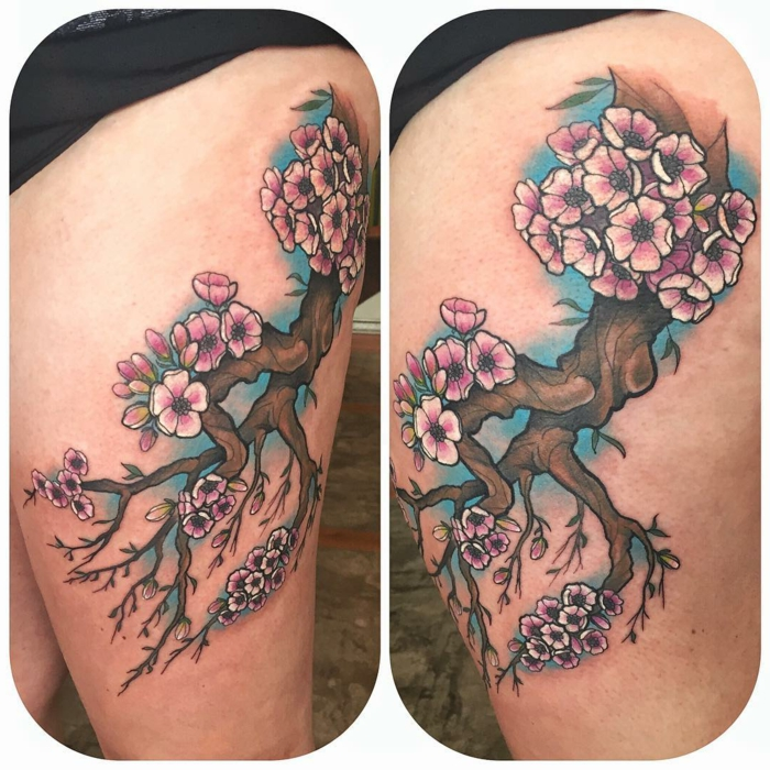 side by side photos of thigh tattoo, blooming tree with pink blossoms, neo traditional rose