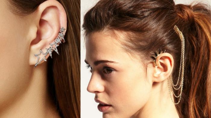 side by side photos of brunette woman, hair in a ponytail, wearing different earrings, cartilage ear piercings