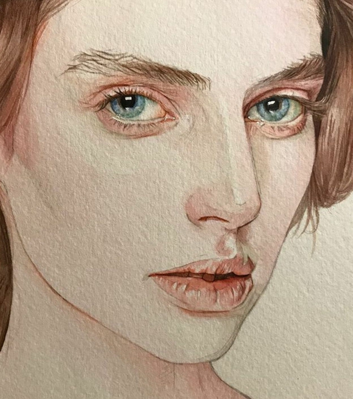 watercolor drawing, close up of a woman with blue eyes, easy drawings of people, white background